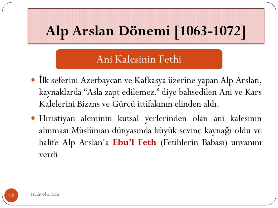 Alp Arslan Dönemi [1063-1072] Ani Kalesinin Fethi